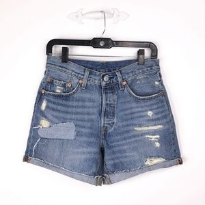 LEVI'S High Waisted Light Wash Distressed Shorts
